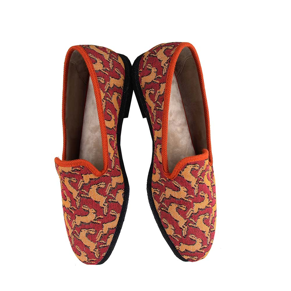 Casual slippers Bestiaire Mirage Lièvres jaune - rouge