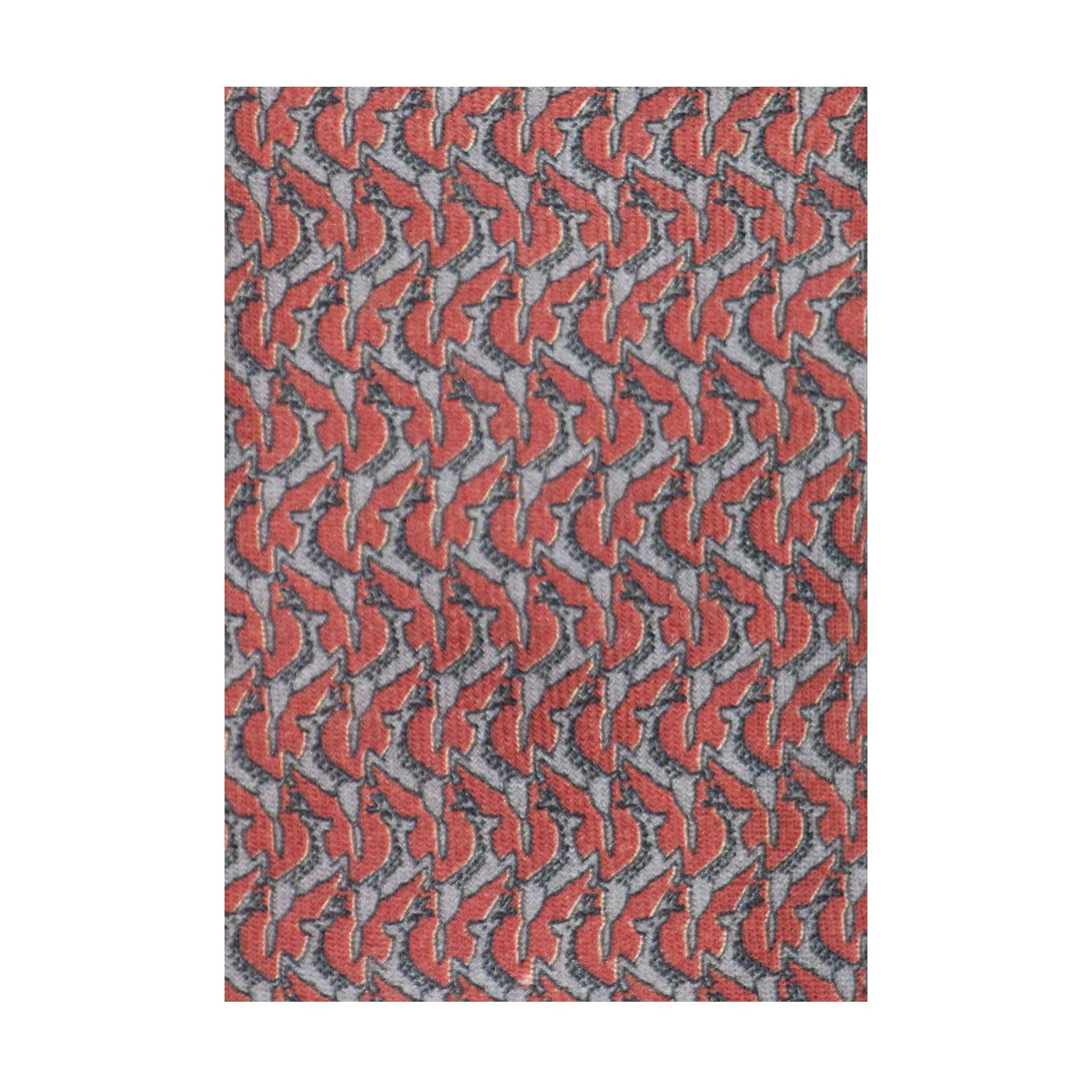 Cravate 174Fg Laine imprimee Bestiaire Mirage Daims rouge - gris