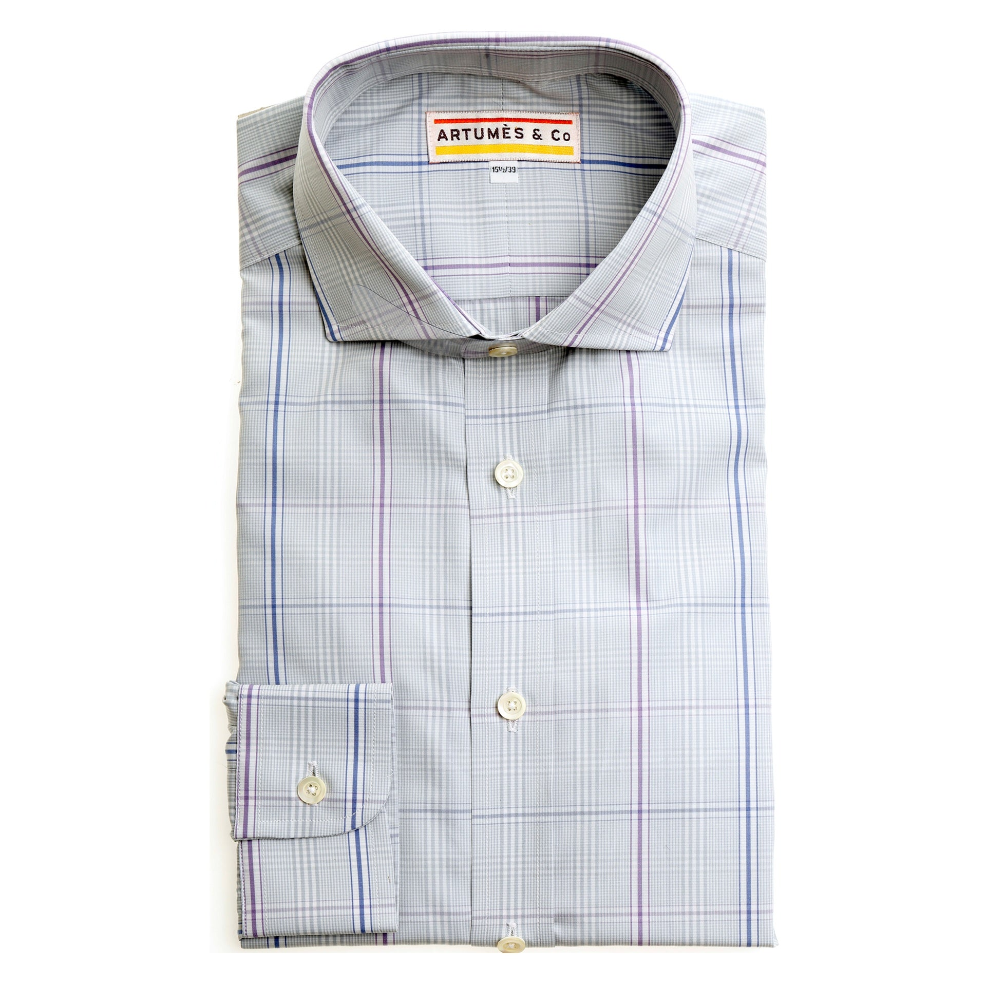 Chemise London popeline grand prince-de-Galles gris - violet