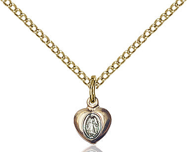 Miraculous Medal Heart Gold Filled 18""