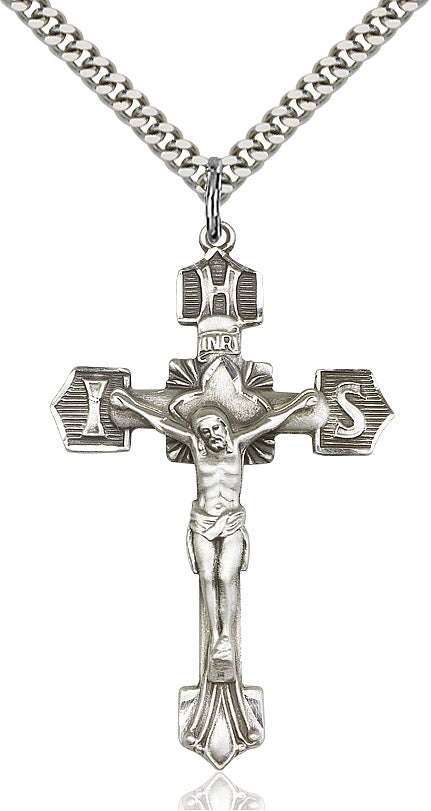 Crucifix Necklace Sterling Silver 24""