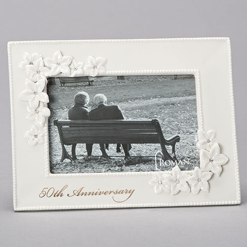 "50TH ANNIVERSARY FRAME - LOVE'S BLOOMS 8.5""H"