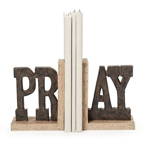 "BOOKENDS PRAY 6.75""H 2 PC SET"