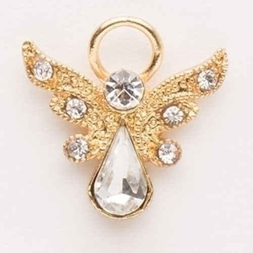"BIRTHSTONE ANGEL PIN - 1"" APRIL GOLD"