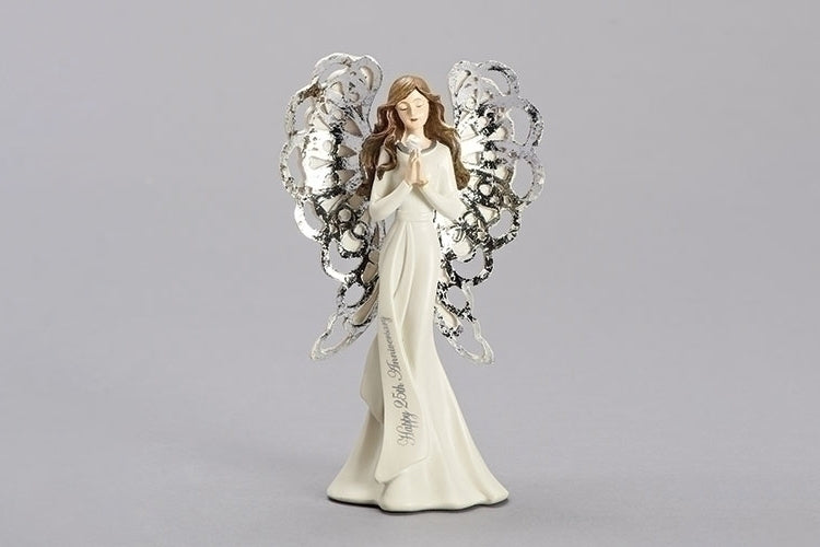 "ANGEL - ANNIVERSARY SILVER ANGEL 7""H 25TH"