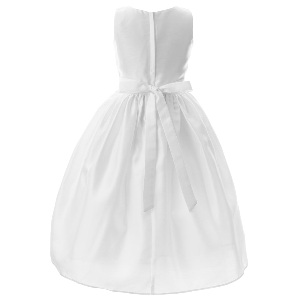 Communion Dress -  Embroided Bodice, Flower Cumber