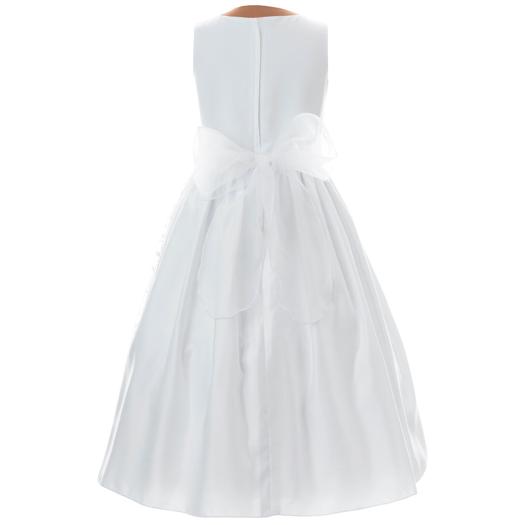 Communion Dress -  Plain Bodice, Embroided Tulle
