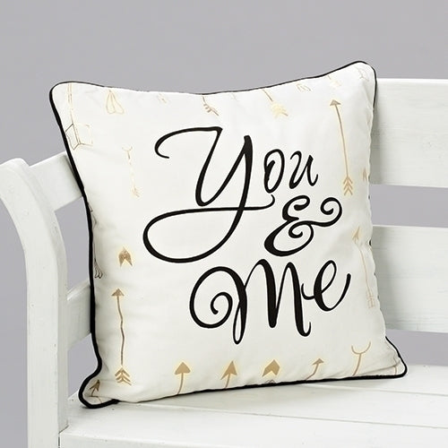"YOU & ME W/ARROWS PILLOW 18""H"