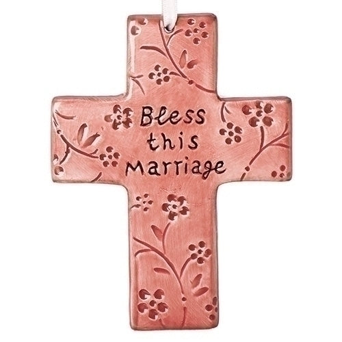 "CROSS - BLESS THIS MARRIAGE 5""H PINK"