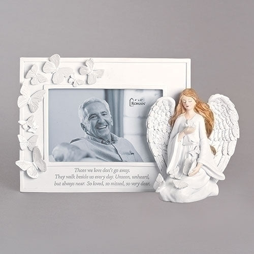 "Butterfly Memorial Frame with Angel 6.75""H"