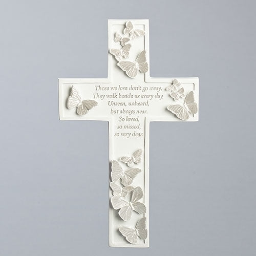 "Butterfly Memorial Wall Cross 8""H"