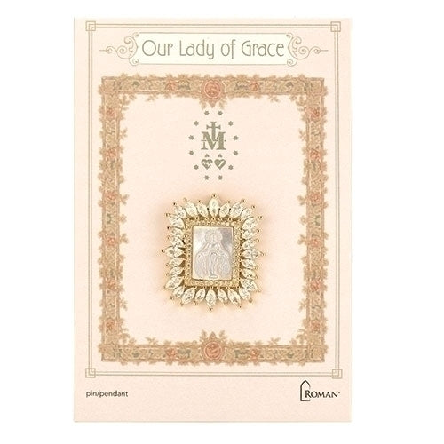 "OUR LADY OF GRACE PIN/PENDANT - 1"" GLD SQ"