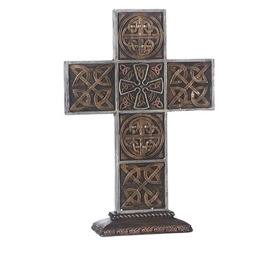 "CROSS - 13.5""H STANDING BRONZE CELTIC CROSS"