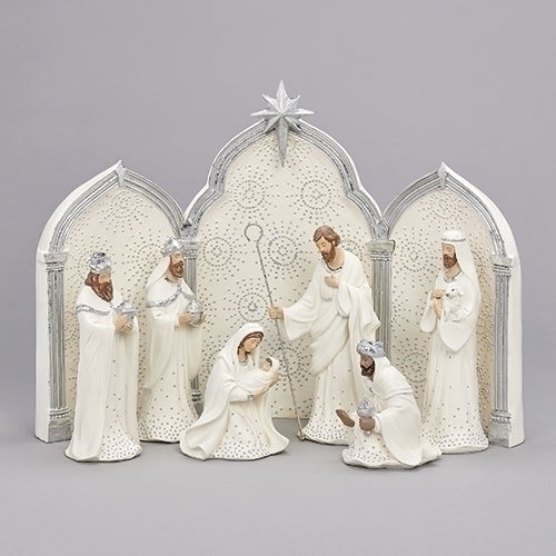 "Nativity Silver Dot 11.25"" 9pc Set"