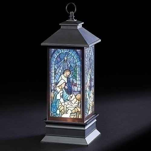 "Holy Family Printed LED Swirl Lantern 10.5""H"