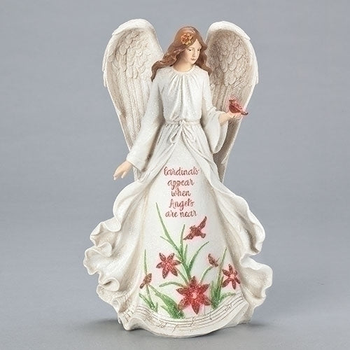 "Angel with Poinsettia and Cardinals 13""H"