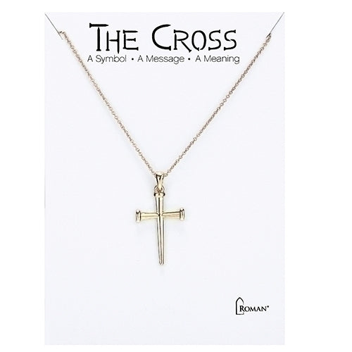 "NAIL CROSS NECKLACE 16"" GLD"