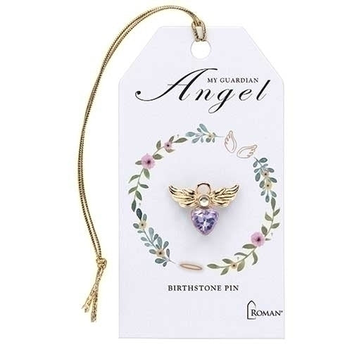 "BIRTHSTONE PIN - .75"" JUNE ANGEL PIN GOLD"