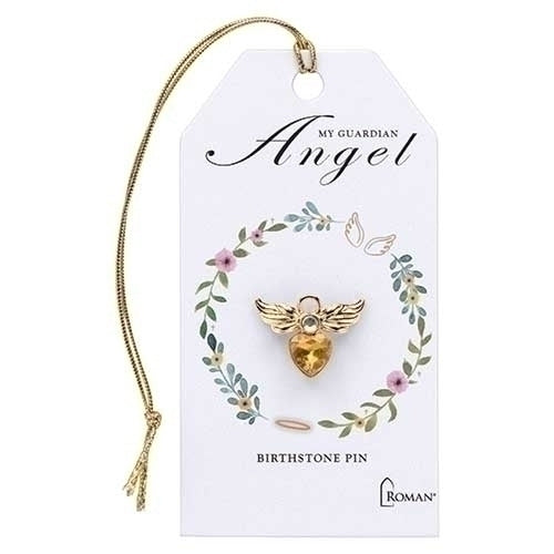 "BIRTHSTONE ANGEL PIN - .75"" NOVEMBER GLD"