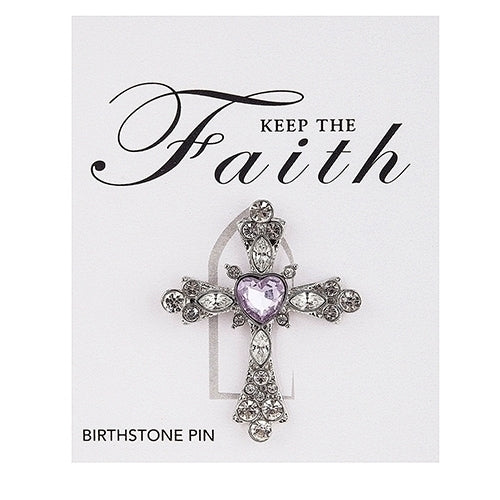 BIRTHSTONE CROSS PIN - JUNE CRYSTAL 1.5""