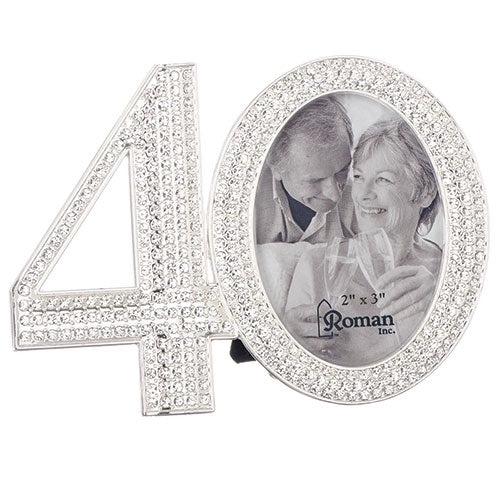 "40TH RHINESTONE FRAME 3.25""H"