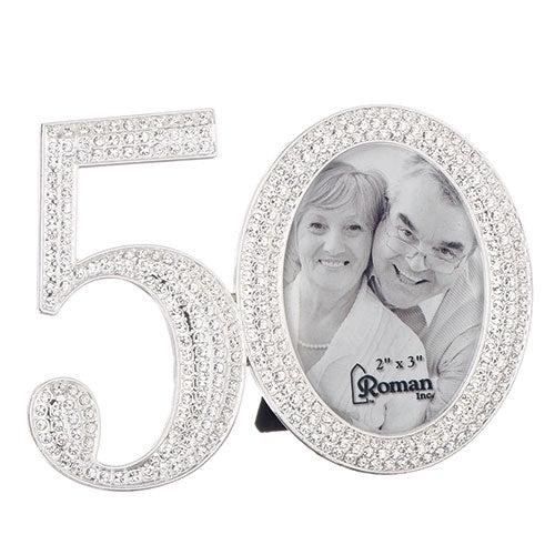 "50TH RHINESTONE FRAME 3.25""H"