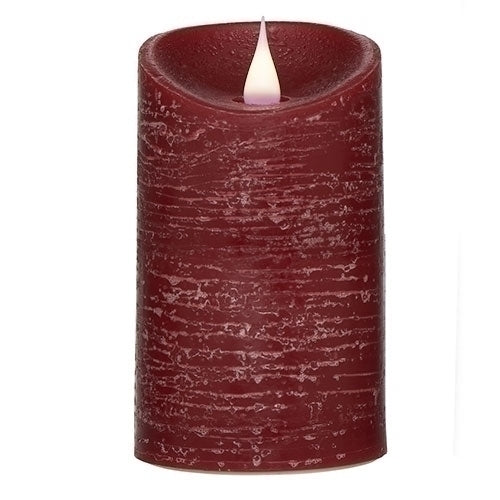 "RED RUSTIC PILLAR 7""H"