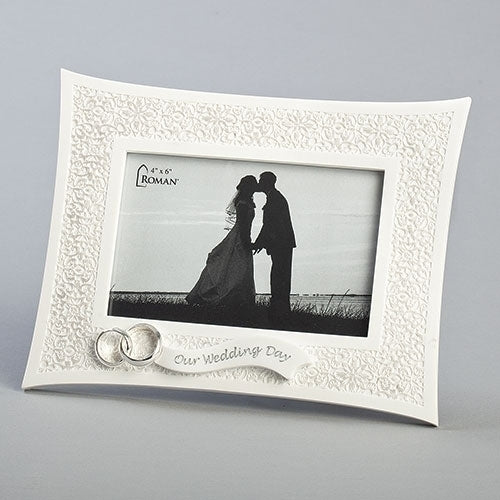 "Lace Wedding Frame 6.75""H"