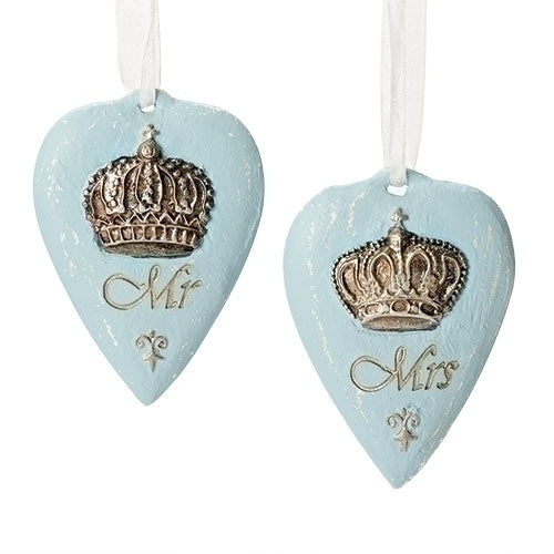 "MR & MRS HEART ORNAMENTS 4""H 2PC SET"