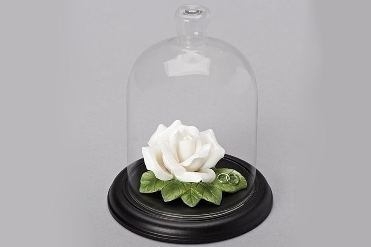 "WEDDING ROSE W/CLOCHE 5.25""H"
