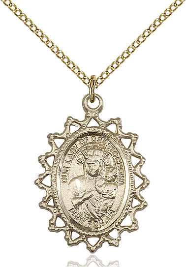 Our Lady of Czestochowa Medal Gold Filled 18""
