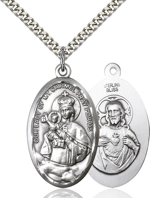 "Our Lady of Mount Carmel Necklace 24"" Chain"