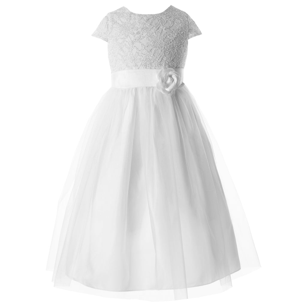Communion Dress -  Plain Bodice, Layered Tulle