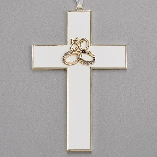 "50 RINGS ANNIVERSARY WALL CROSS 7.25""H"