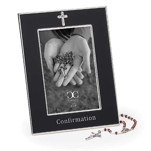 "FRAME - CONFIRMATION FRAME W/ROSARY 4X6 8""H BLACK"