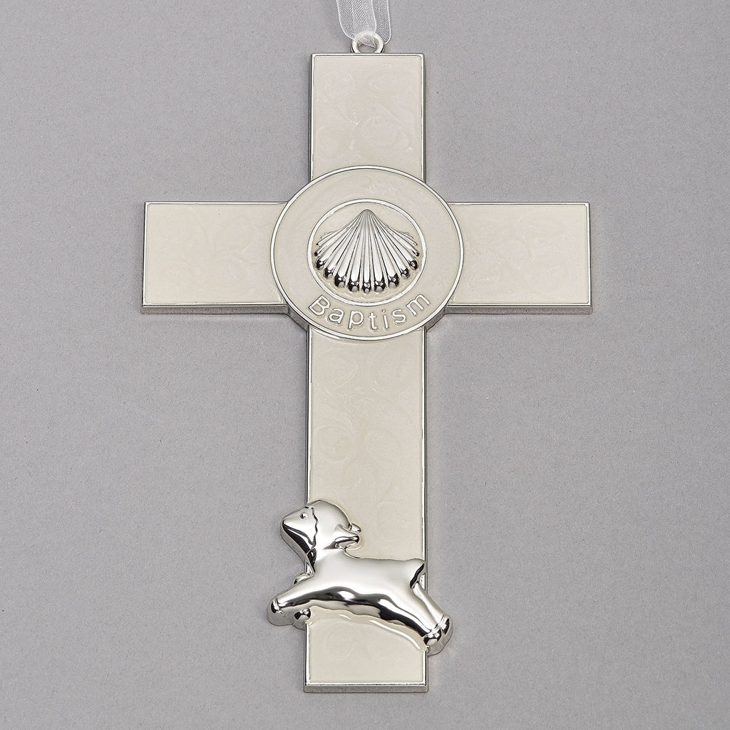 "Baptism Shell and Lamb Wall Cross 7""H"