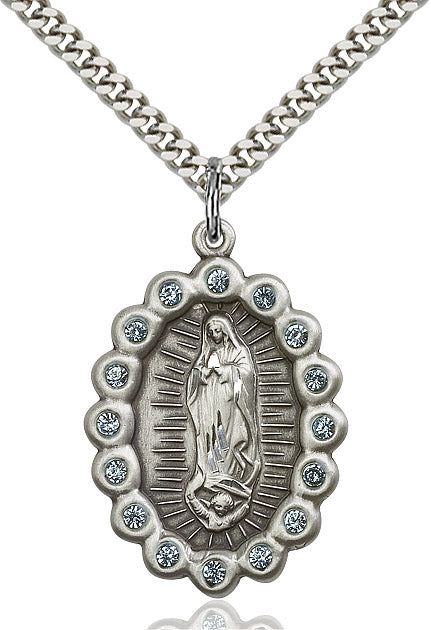 Our Lady of Guadalupe Medal Birthstone March 24""
