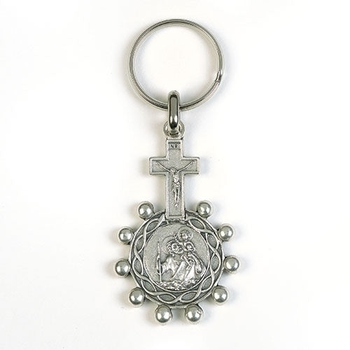 ROSARY KEYCHAIN - OUR LADY OF GRACE & ST CHRISTOPHER