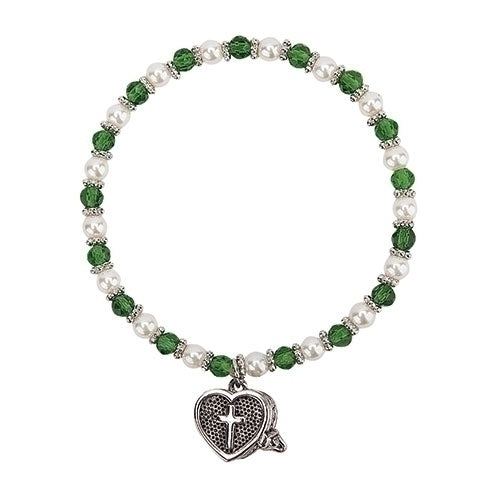 "Birthstone Color May Prayer Box Bracelet 6""L"