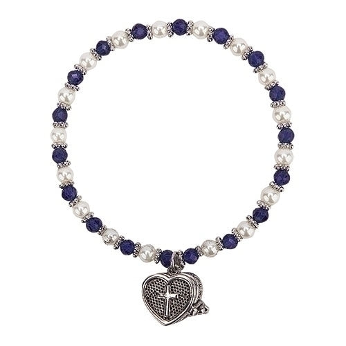 "Birthstone Color September Prayer Box Bracelet 6""L"