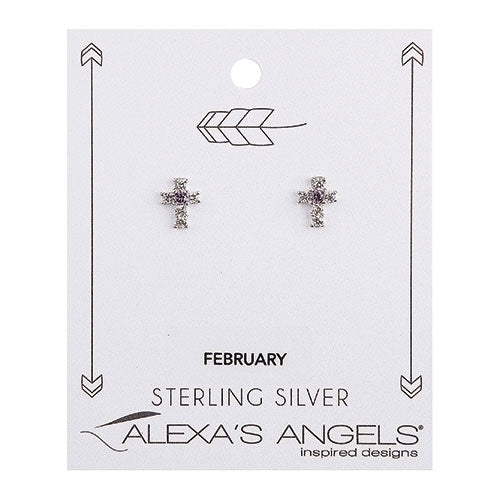 "Birthstone February Cross Earrings .375""H"