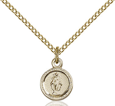 Miraculous Medal Necklace Gold Filled 18""