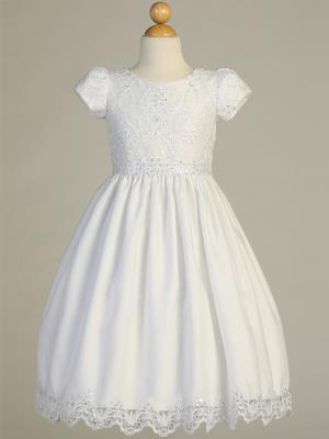 Communion Dress - Embroidered lace on tulle