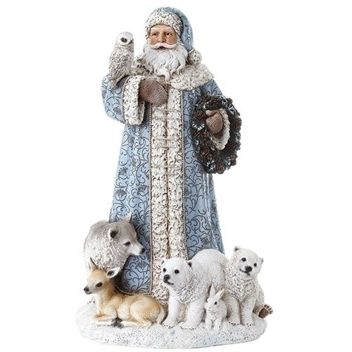 "SANTA - 16"" BLUE SANTA W/OWL & ANIMALS"