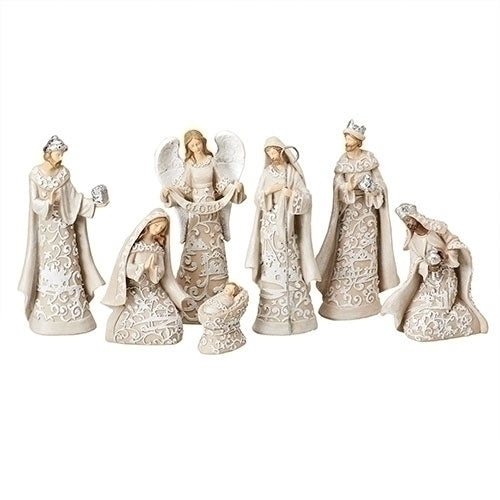 "Nativity with Angel 7.5""H 7pc set"