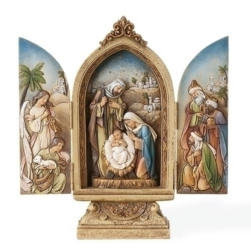 "NATIVITY - 9"" TRIPTYCH W/KINGS &ANGEL"
