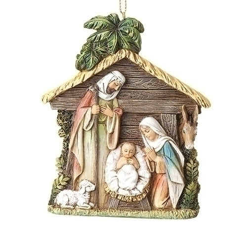 Holy Family Stable Ornament 4""