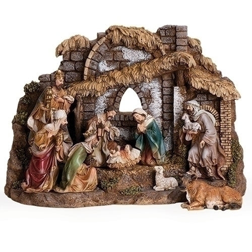 NATIVITY W/STABLE 10PC ST 11""