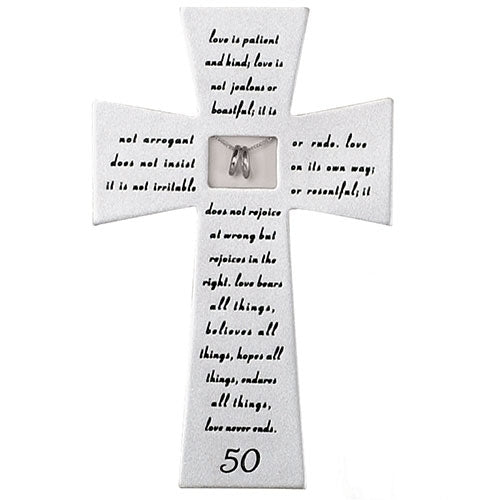 "LOVE NEVER FAILS 50TH ANNIVERSARY WALL CROSS 7""H"