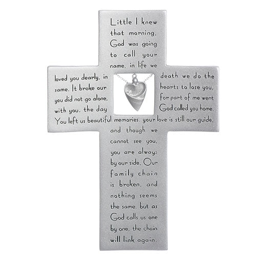 "MEMORIAL CROSS W/CHARM AND VERSE 7.25""H"